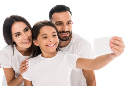Photo for Selective focus of cheerful family taking selfie isolated on white - Royalty Free Image