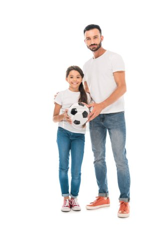 Photo pour Happy father and daughter holding football isolated on white - image libre de droit