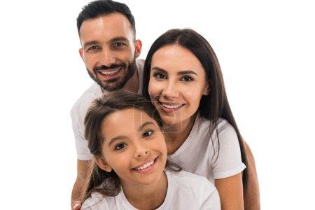 Photo pour Heureux parents et enfant en t-shirts blancs isolés sur blanc - image libre de droit