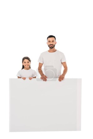 happy father and daughter holding placard isolated on white