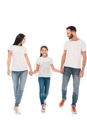 Photo for Happy kid holding hands with parents isolated on white - Royalty Free Image