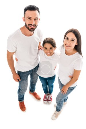 Photo for Overhead view of happy parents and kid looking at camera isolated on white - Royalty Free Image