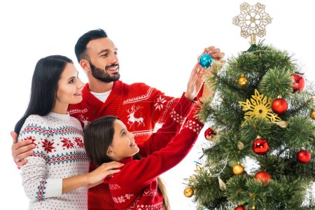Photo pour Positive family decorating christmas tree isolated on white - image libre de droit