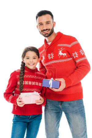 Photo pour Happy father and daughter holding christmas presents isolated on white - image libre de droit