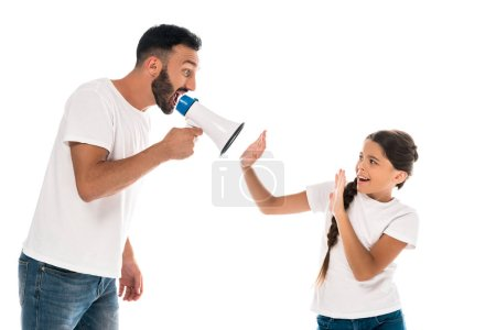 Photo for Father holding megaphone while yelling near daughter isolated on white - Royalty Free Image