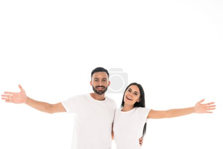 Photo for Happy man and woman with outstretched hands isolated on white - Royalty Free Image
