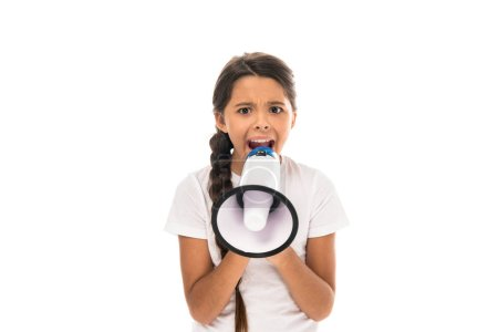 Photo pour Enfant en colère tenant le mégaphone tout en criant isolé sur le blanc - image libre de droit
