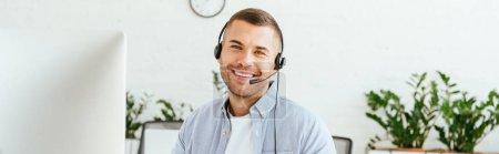 panoramic shot of happy operator in brokers agency