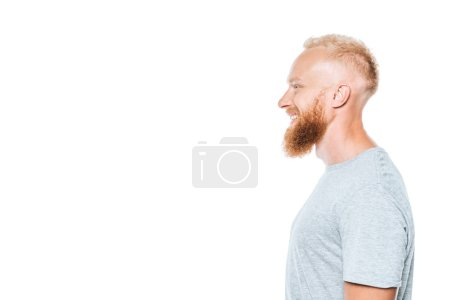 Photo for Profile portrait of handsome cheerful man in grey t-shirt, isolated on white - Royalty Free Image