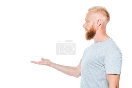Photo for Handsome bearded man in grey t-shirt presenting something, isolated on white - Royalty Free Image