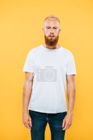 Photo for Portrait of serious handsome bearded man, isolated on yellow - Royalty Free Image