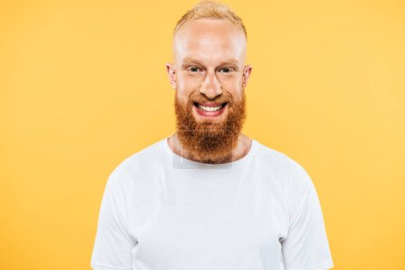 Photo for Portrait of happy handsome bearded man, isolated on yellow - Royalty Free Image