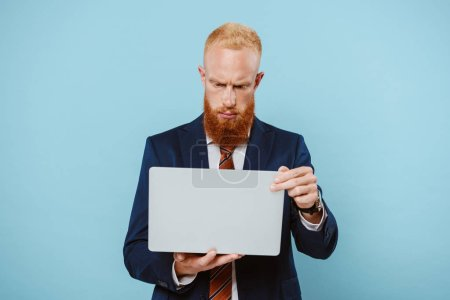 Photo for Serious bearded businessman in suit using laptop, isolated on blue - Royalty Free Image