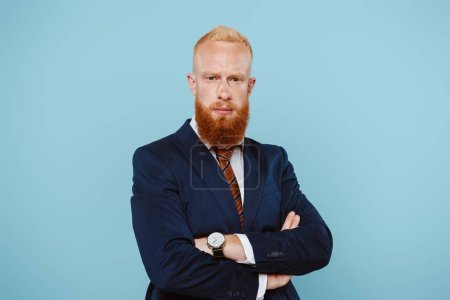 Photo for Confident bearded businessman in suit with crossed arms, isolated on blue - Royalty Free Image