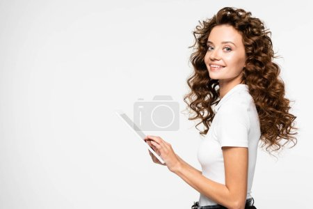 attractive cheerful woman using digital tablet, isolated on white
