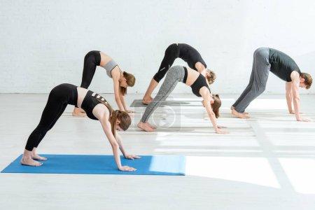 Foto de Cinco hombres y mujeres jóvenes que practican yoga en la parte inferior de la cara de perro posponer. - Imagen libre de derechos