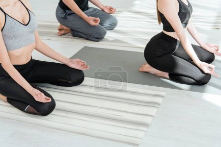 Photo for 1cropped view of women practicing yoga in diamond pose - Royalty Free Image