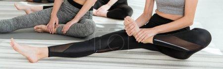 Photo pour Crochet vue de jeunes femmes étirement pendant la pratique du yoga, prise de vue panoramique - image libre de droit