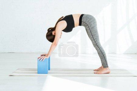 Photo pour Jeune femme pratiquant le yoga en pose de chien chiot - image libre de droit