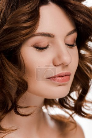 Photo pour Close up of attractive woman with closed eyes isolated on white - image libre de droit
