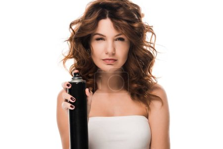 Photo pour Attractive curly woman holding hair spray bottle isolated on white - image libre de droit