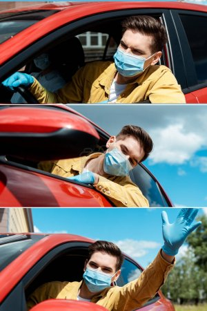 Photo for Collage with man in medical mask and protective gloves driving taxi during covid-19 pandemic - Royalty Free Image