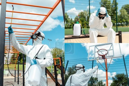 Photo for Collage with stressed specialist in hazmat suit and respirator disinfecting sports ground and basketball court during covid-19 pandemic - Royalty Free Image