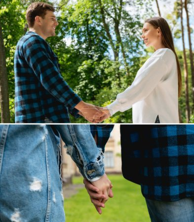 collage of cheerful couple of students looking at each other and holding hands
