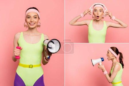 Photo pour Collage de femme tenant haut-parleurs et écouteurs touchants sur rose - image libre de droit