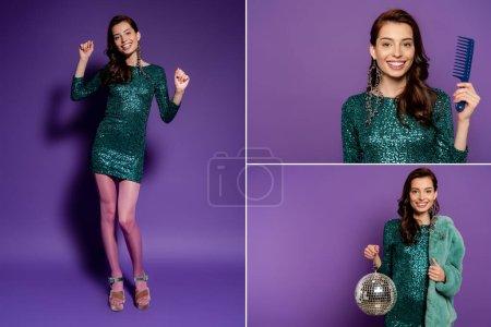 Photo pour Collage de fille heureuse tenant peigne et boule disco, dansant et montrant pouce vers le haut sur violet - image libre de droit