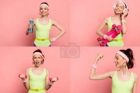 Photo pour Collage de sportive émotionnelle faisant de l'exercice avec des haltères, tenant bouteille de sport et planche de penny sur rose - image libre de droit