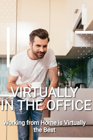 Photo for Selective focus of smiling man with cup of coffee looking at laptop on kitchen worktop, virtually in office illustration - Royalty Free Image
