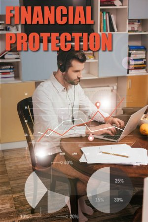 Photo for Selective focus of freelancer in shirt and panties using headset and laptop near papers on table at home, financial protection illustration - Royalty Free Image