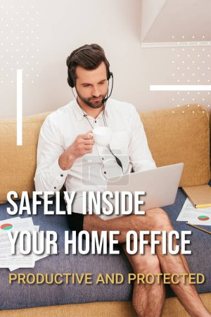 Teleworker in shirt and panties drinking coffee while using headset and laptop on couch, safely inside home office illustration