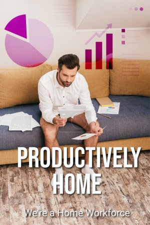 Freelancer in panties and shirt looking at documents with charts on sofa, productively home illustration