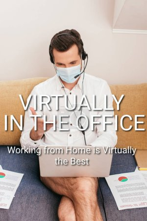 Photo for Freelancer in medical mask, panties and shirt using headset during video call on laptop at home, virtually in office illustration - Royalty Free Image
