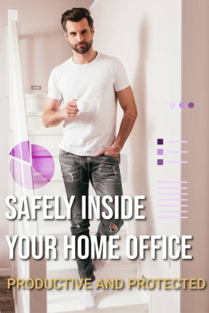Handsome man holding cup of coffee and looking at camera on staircase at home, safely inside your home office illustration