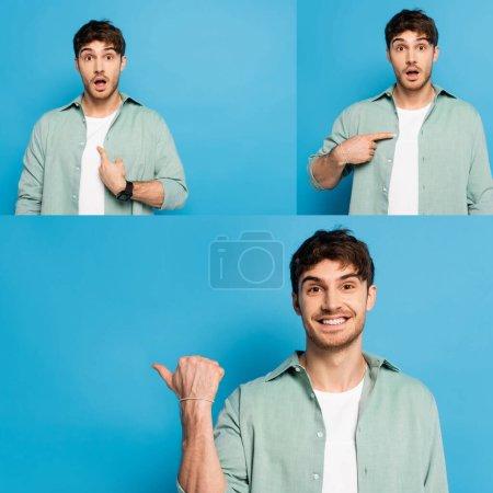 Photo pour Collage de jeune homme émotionnel pointant du doigt et regardant la caméra sur bleu - image libre de droit
