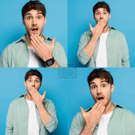 collage of shocked young man covering mouth with hand while looking at camera on blue