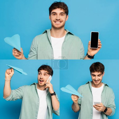 collage of young man using smartphone and holding paper plane on blue