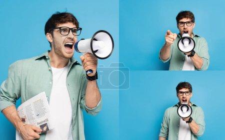 Photo pour Collage de l'homme en colère tenant journal et criant en mégaphone sur bleu - image libre de droit