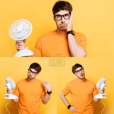Photo pour Collage de jeune homme épuisé tenant un ventilateur électrique tout en souffrant de chaleur sur jaune - image libre de droit