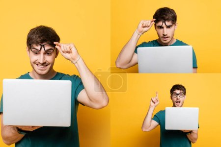 Photo for Collage of emotional young man using laptop and showing idea gesture on yellow - Royalty Free Image