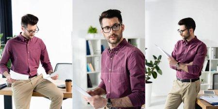Photo pour Collage de jeunes hommes d'affaires confiants en lunettes étudiant des documents au bureau, image horizontale - image libre de droit