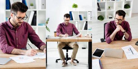 Photo pour Collage d'homme d'affaires écrivant sur des papiers et assis les mains croisées au bureau avec des appareils numériques, image horizontale - image libre de droit