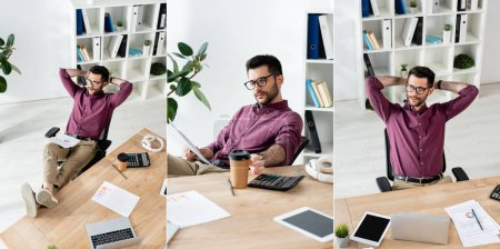 Photo for Collage of handsome businessman sitting with legs on table and hands behind head, and taking coffee to go, horizontal image - Royalty Free Image
