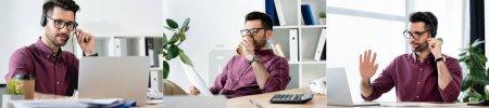 Photo pour Collage de jeunes hommes d'affaires gesticulant pendant le chat vidéo sur ordinateur portable et boire du café à emporter, image horizontale - image libre de droit