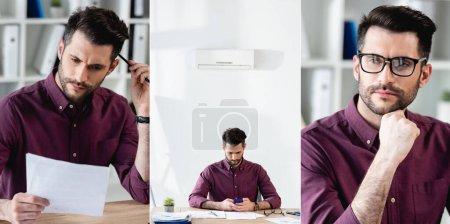 Photo pour Collage d'un homme d'affaires sérieux lisant un document, à l'aide d'un ordinateur portable et d'une caméra - image libre de droit