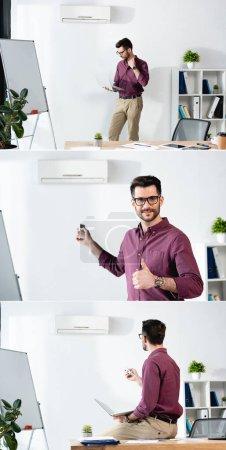 Photo pour Collage de l'homme d'affaires tenant l'ordinateur portable, souffrant de chaleur, allumant le climatiseur et montrant pouce vers le haut - image libre de droit