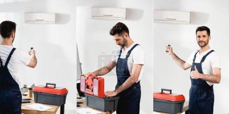 Photo pour Collage de la boîte à outils d'ouverture du réparateur, tenant la télécommande du climatiseur et montrant pouce en l'air, image horizontale - image libre de droit